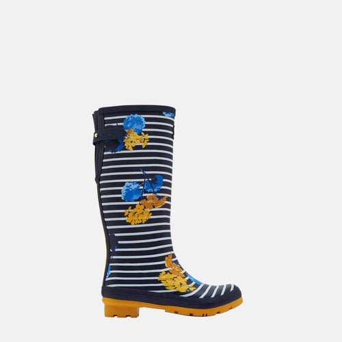 Welly Print Navy Lily Stripe