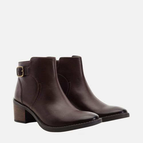 ALBA BROWN LEATHER BUCKLE ANKLE BOOT