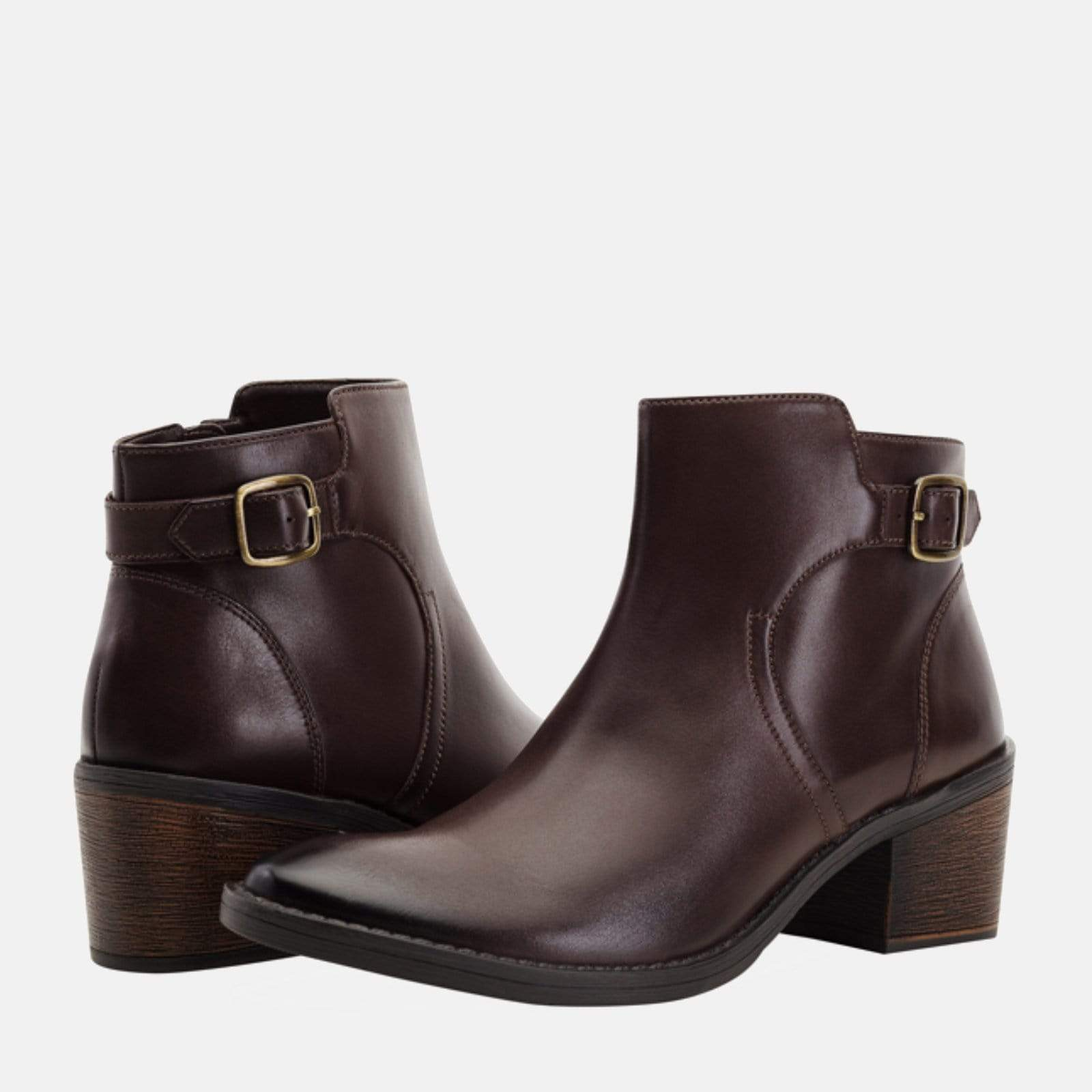 ALBA BROWN LEATHER BUCKLE ANKLE BOOTS