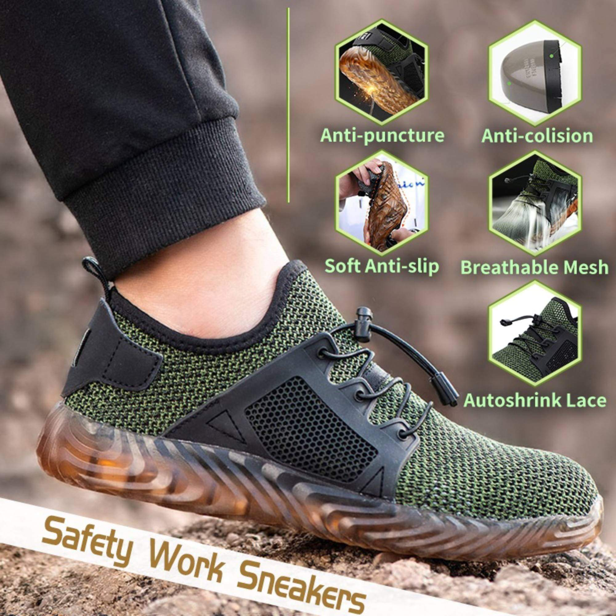 Redfoot Footwear Black Safety Shoes Steel Toe Cap Work Protective Trainers - Only £19.99