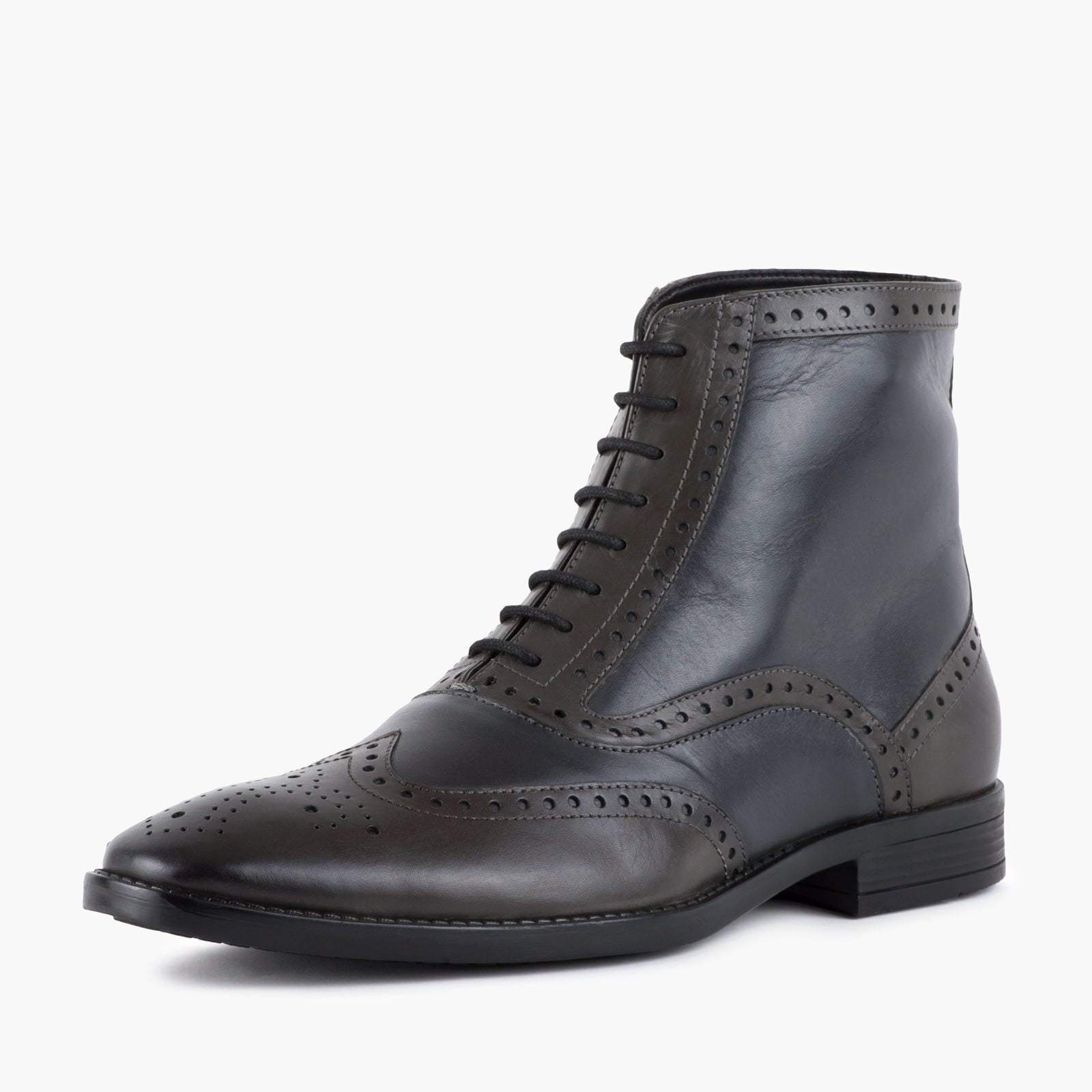 BUGSY CHARCOAL LEATHER OXFORD BROGUE BOOT