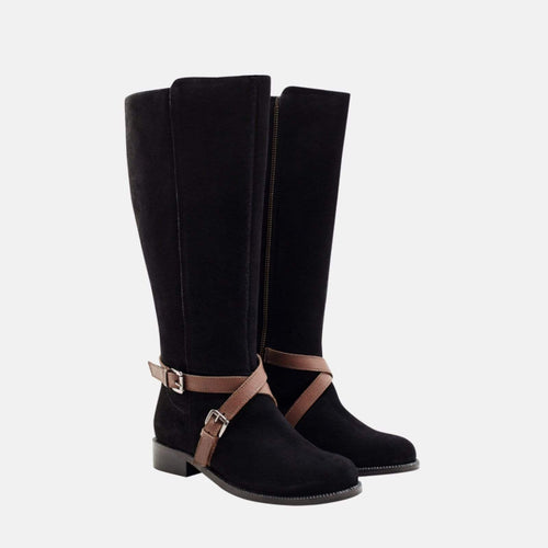 CHARLOTTE BLACK REAL SUEDE WATER RESISTANT BOOT