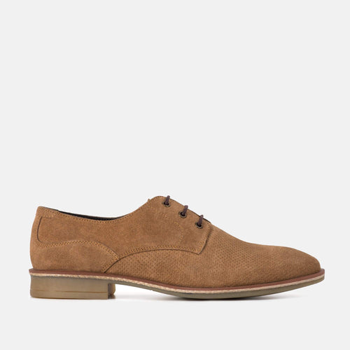 CLARKE CHESTNUT SUEDE DERBY SHOE