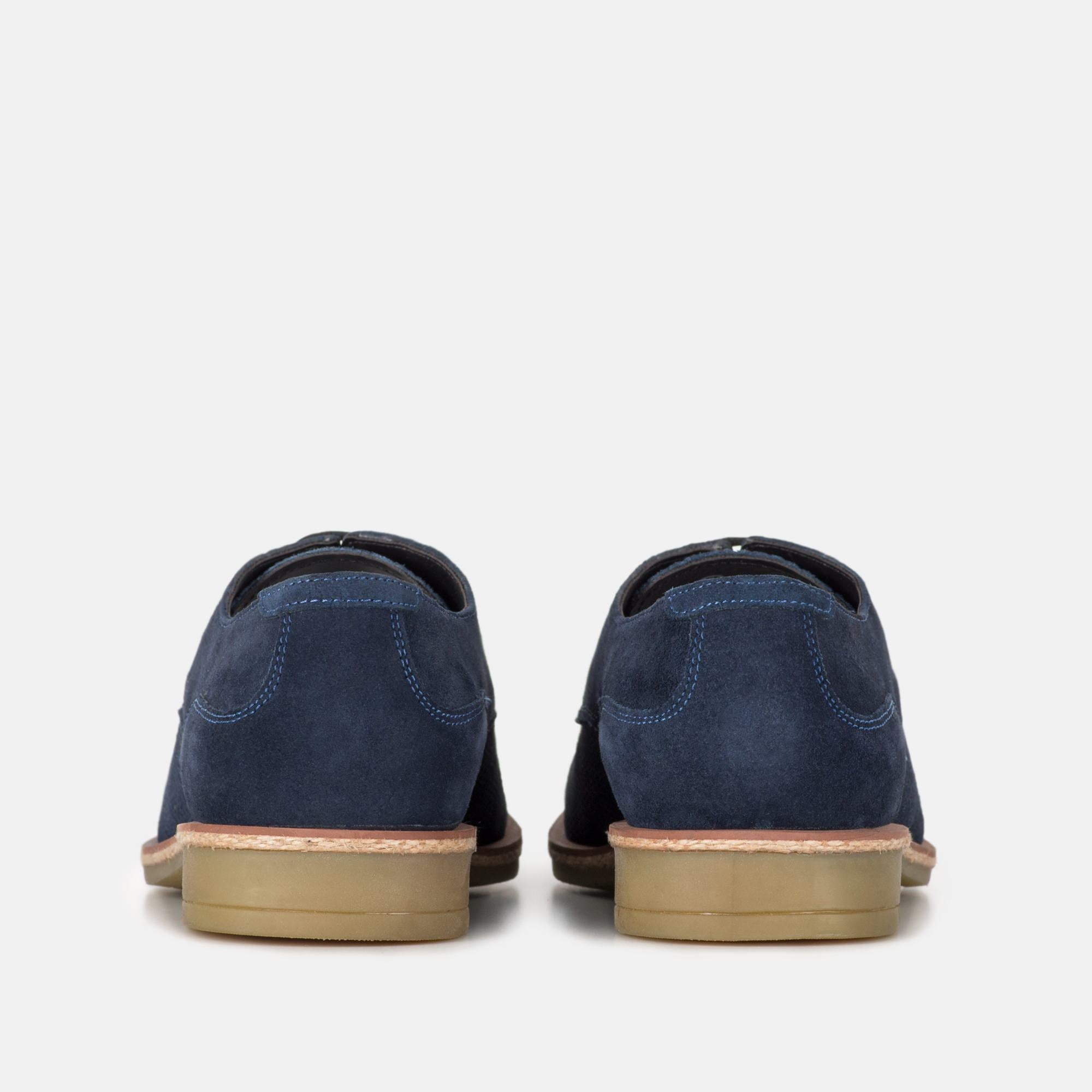 CLARKE NAVY SUEDE DERBY SHOE