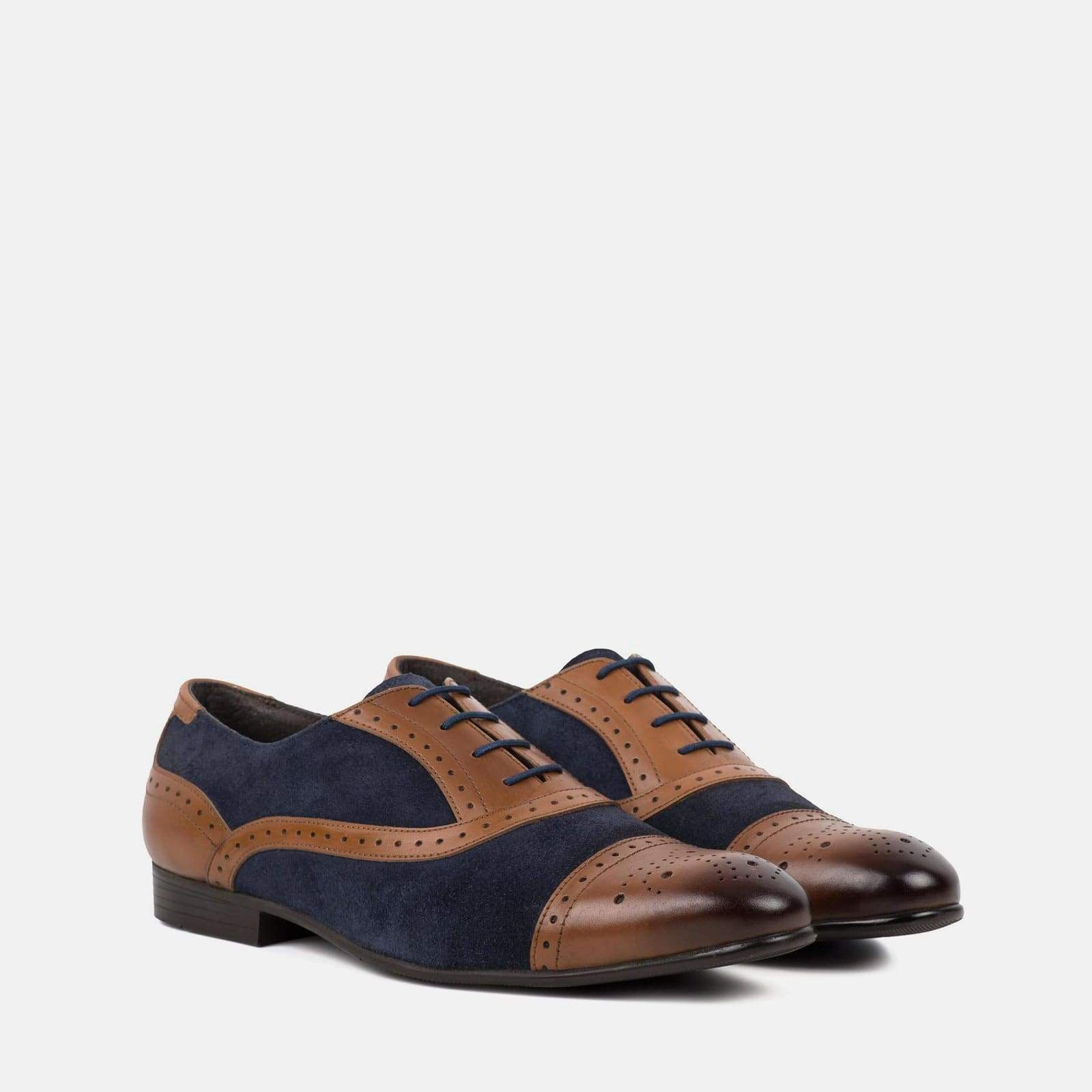 Redfoot Footwear DALE GREY TAN AND NAVY