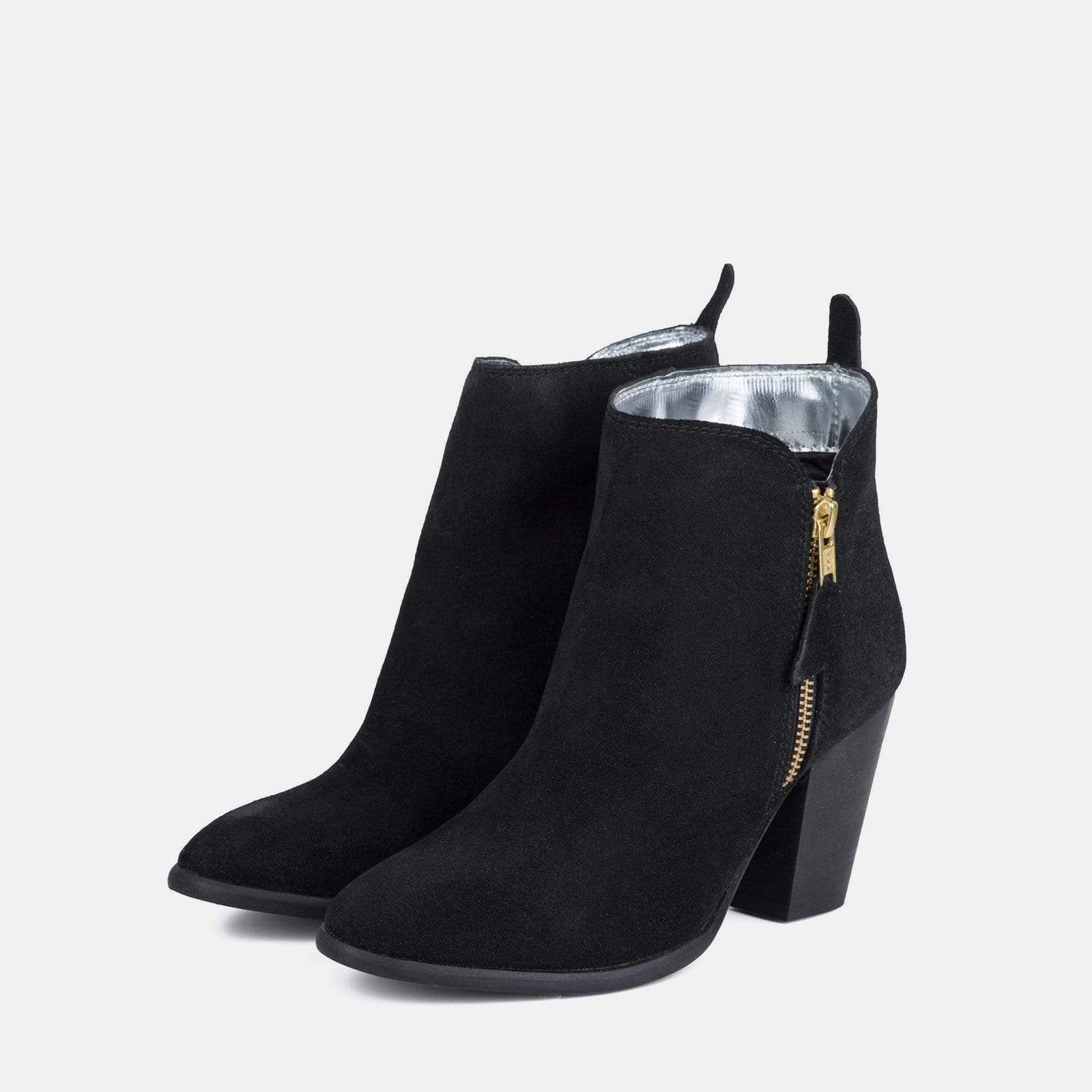 GENEVIEVE BLACK SUEDE ANKLE BOOT