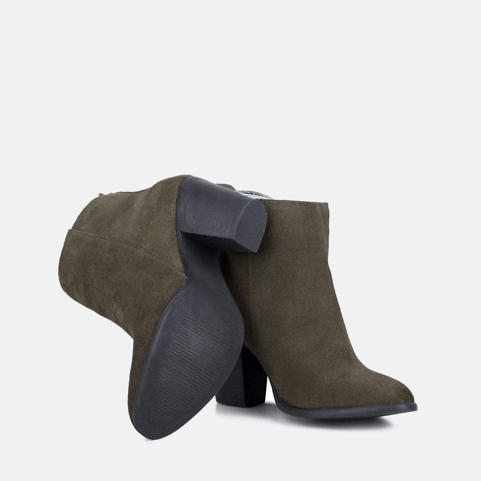 GENEVIEVE KHAKI SUEDE ANKLE BOOT