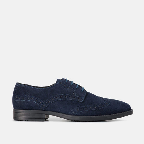 HARRIS NAVY SUEDE BROGUE