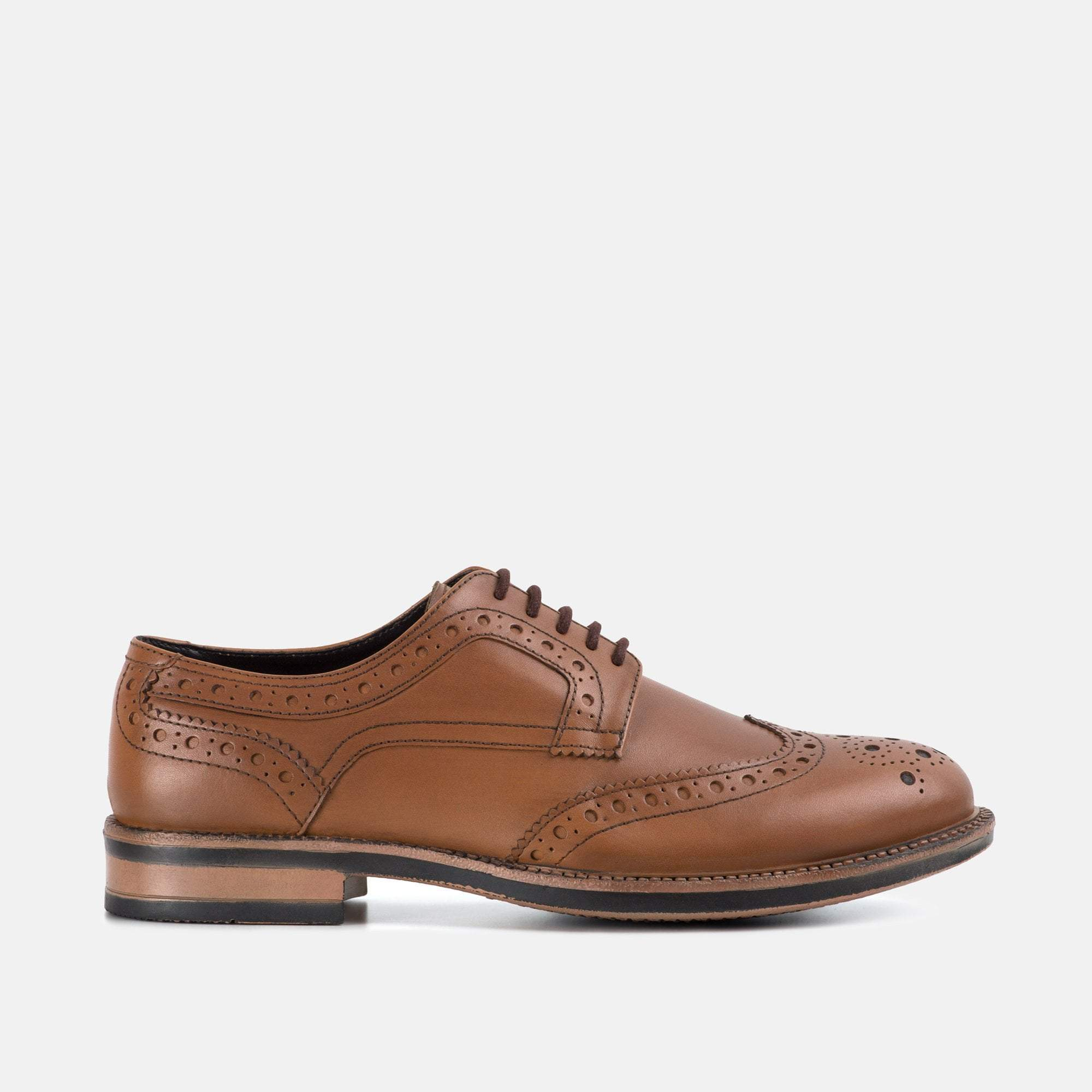 JOHNSON TAN CHUNKY LEATHER DERBY BROGUE SHOE