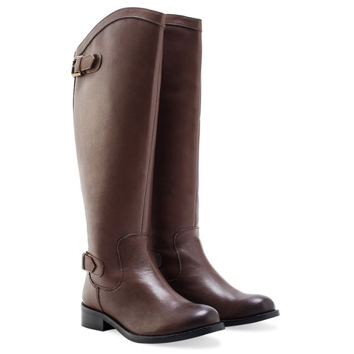 LADIES BROWN TWINZIP RIDING BOOT