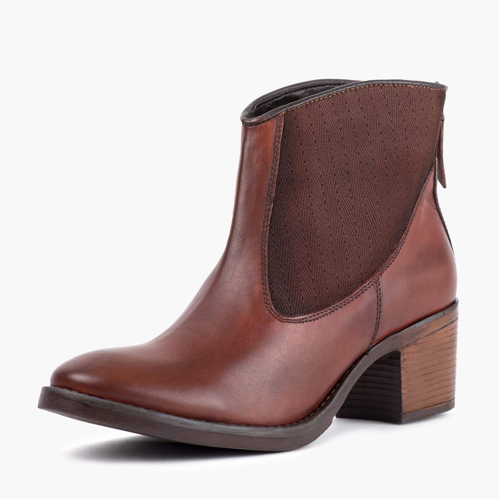 MEGAN MAHOGANY LEATHER ANKLE BOOT