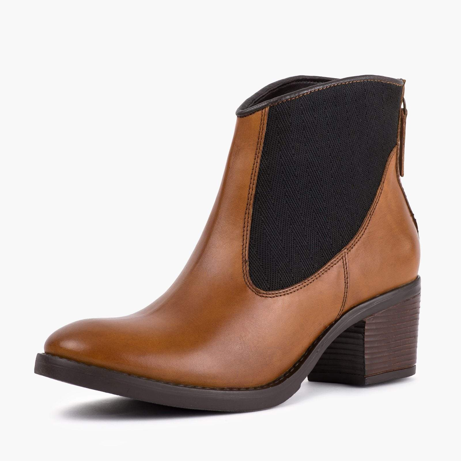 MEGAN TAN LEATHER ANKLE BOOT