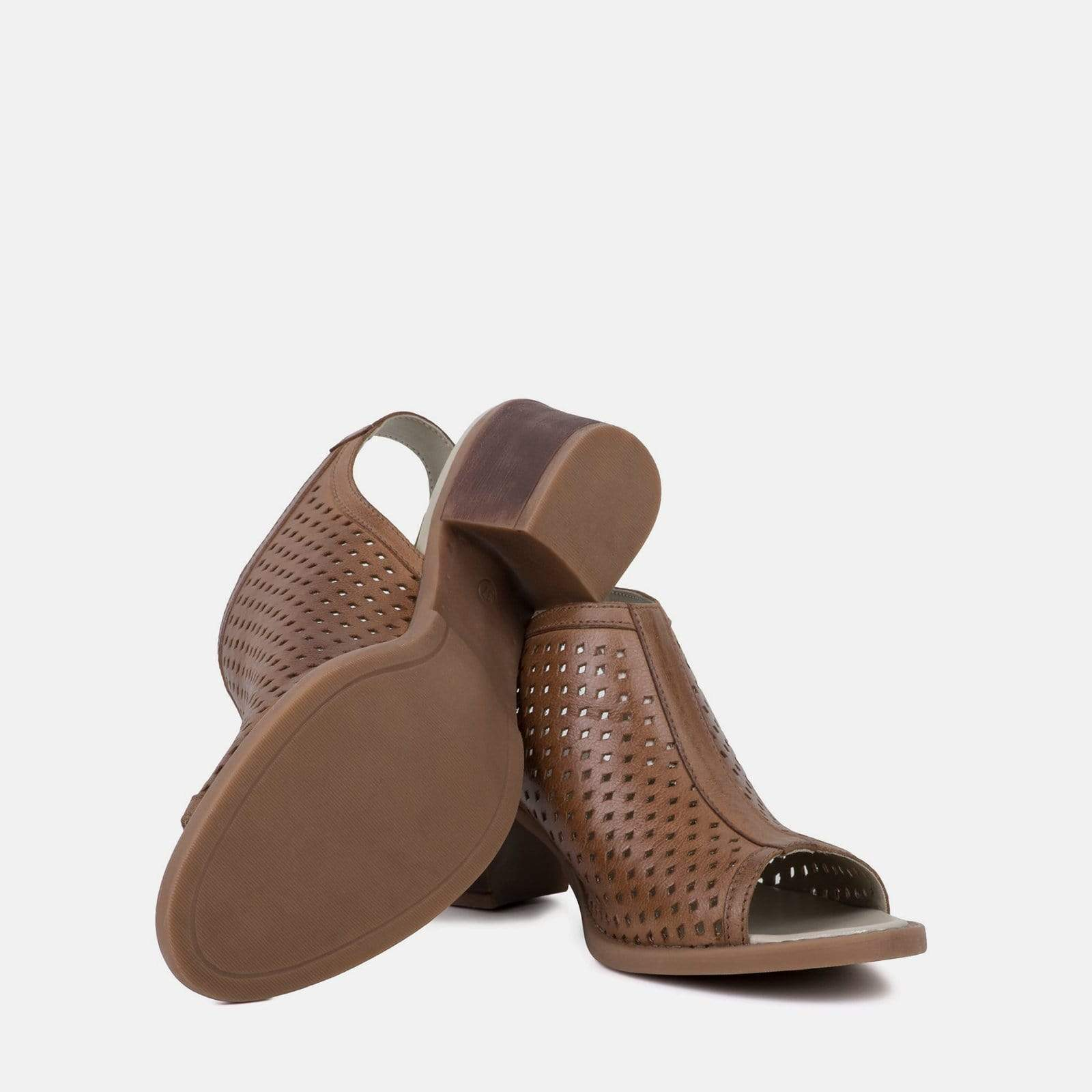 MILANO TAN LEATHER PEEP TOE SANDAL