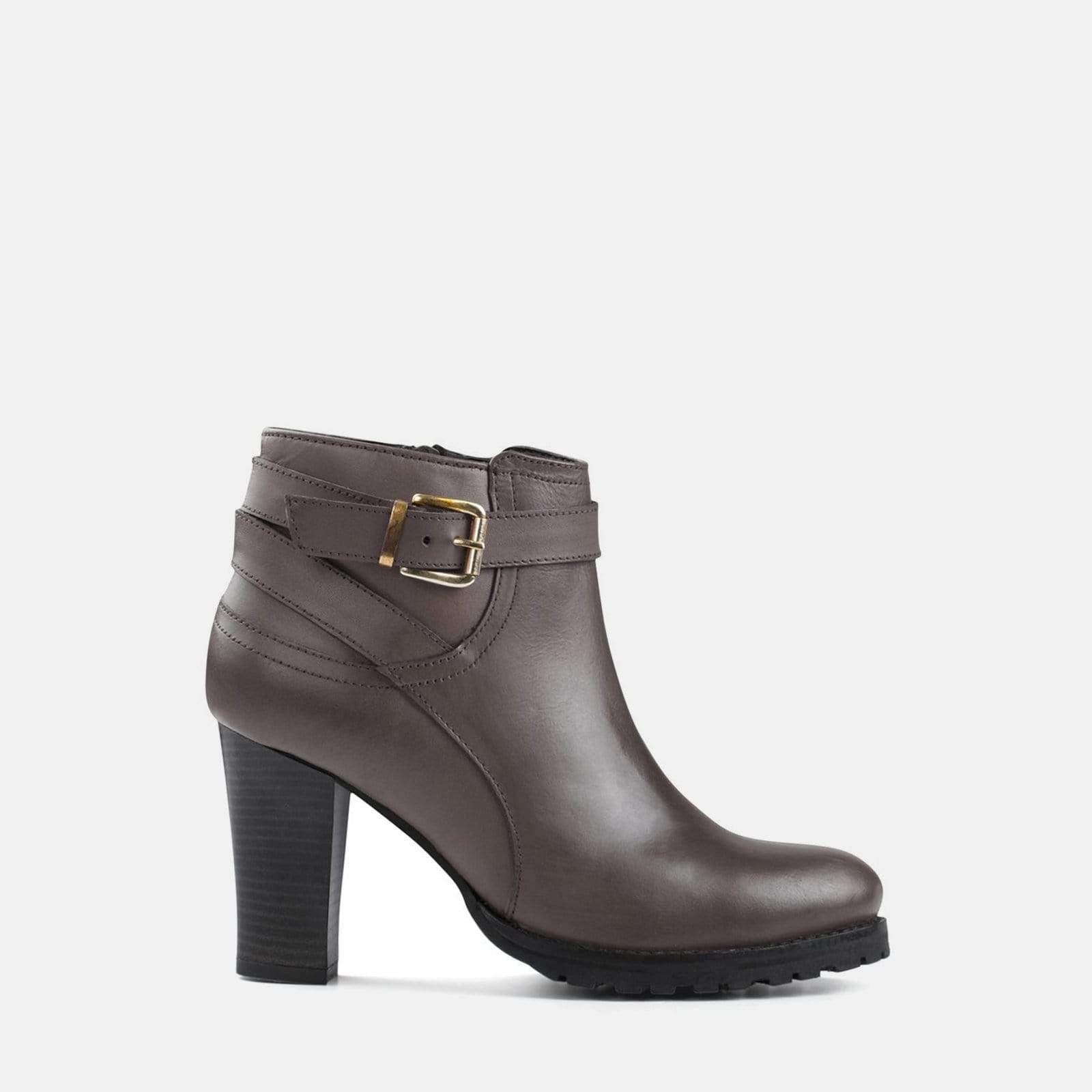 OLIVIA BROWN LEATHER ANKLE BOOT