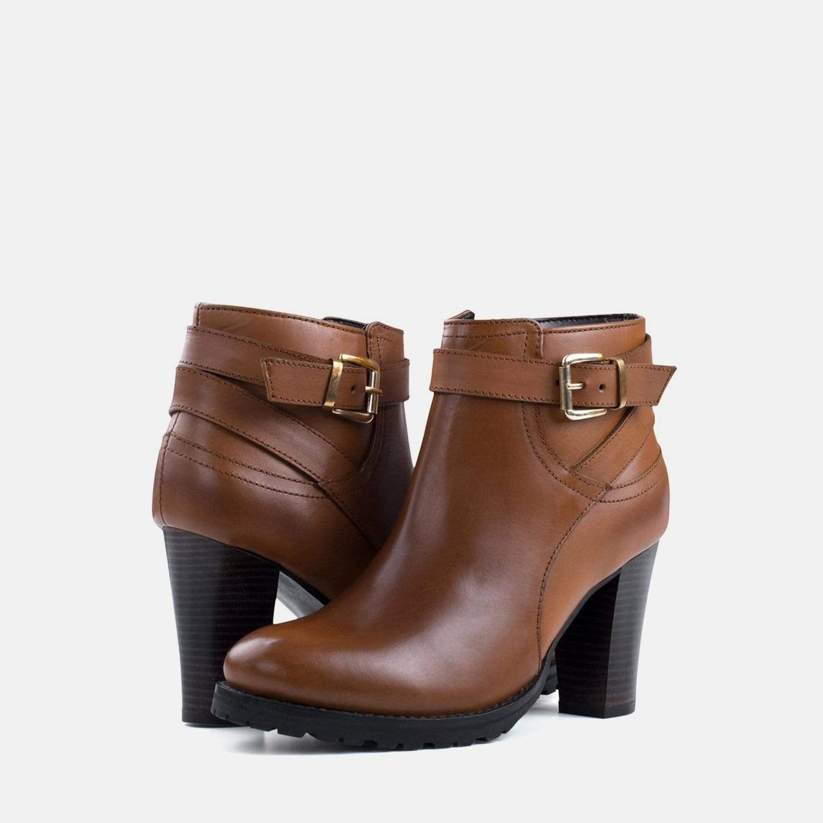 OLIVIA TAN LEATHER ANKLE BOOT