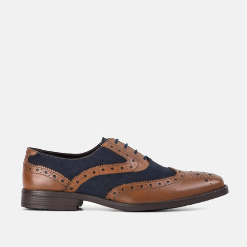 THOMPSON TAN & NAVY LEATHER GATSBY BROGUE