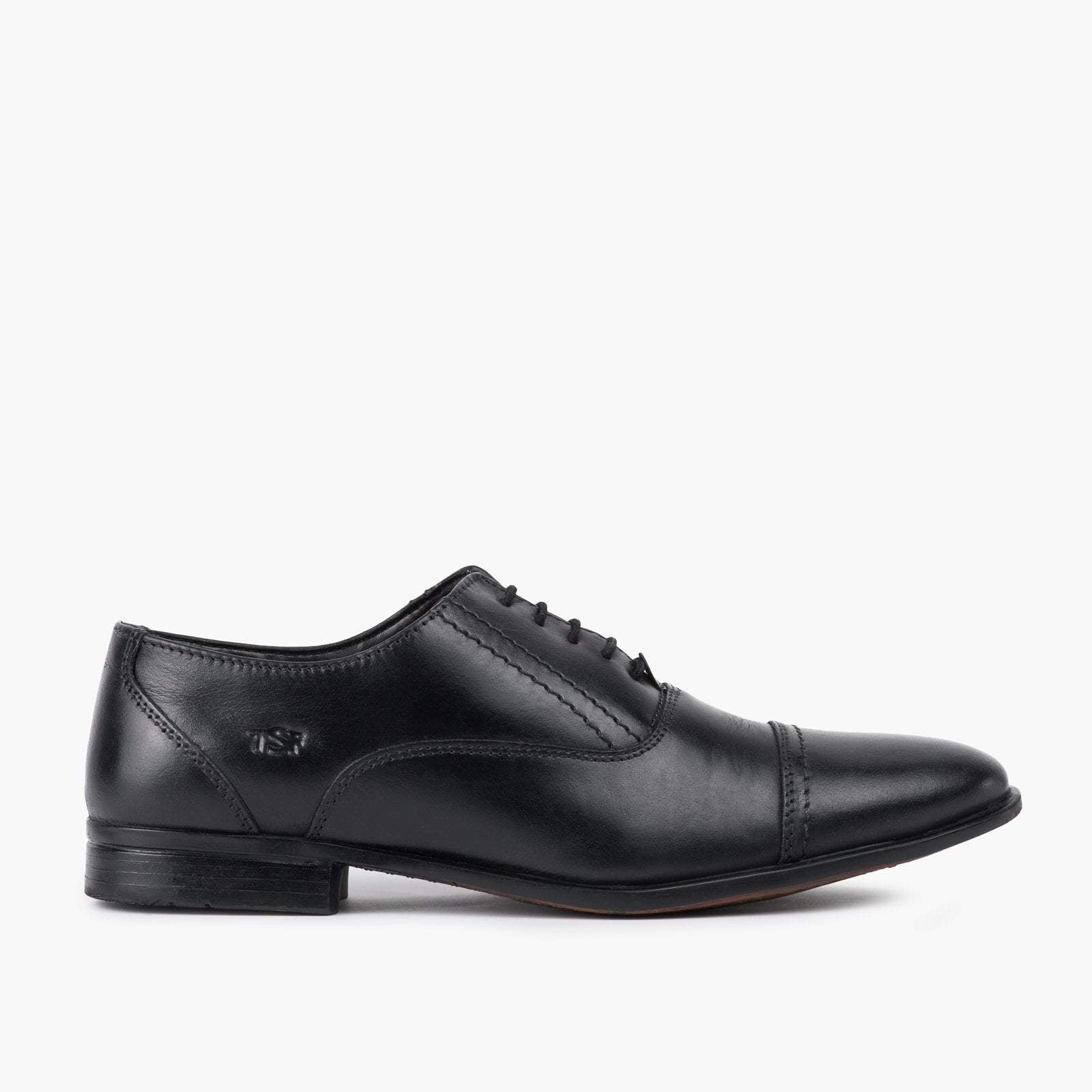 Redfoot Shoes Footwear UK 6 / EURO 39 / US 7 / Black / Leather MENS BLACK LEATHER OXFORD TOE CAP