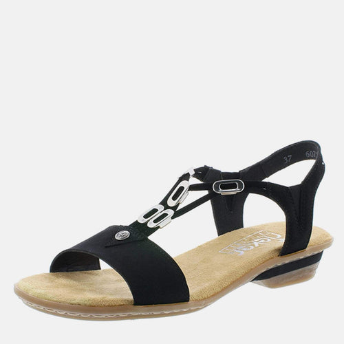 63453 00 Black - Rieker Ladies Black Sling Back Summer Sandal