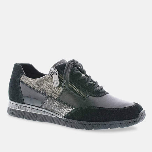 Rieker Black Combination Laced Shoe N5320-00