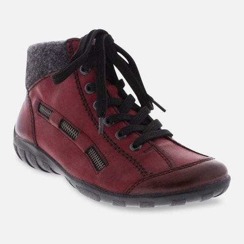 Rieker L6543-35 Red Combination Ankle Boots