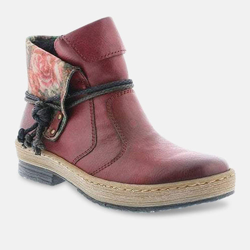 Rieker Z6771-35 Jacinta Fashion Ankle Boots in Red Combi