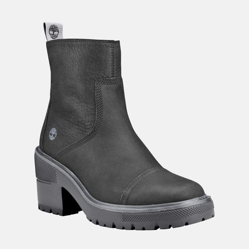 Silver Blossom Side Zip Ankle Boot CA25CT Jet Black
