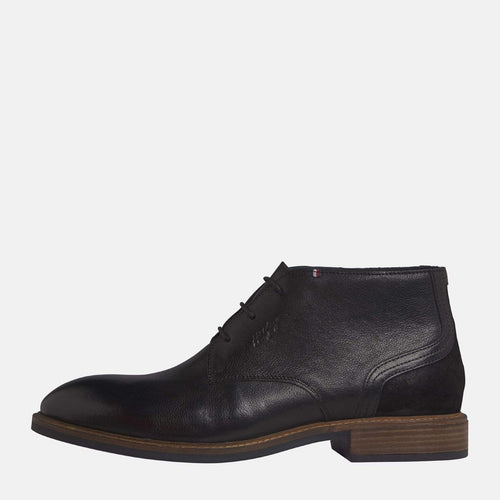 Elevated Leather Mix Boot Black