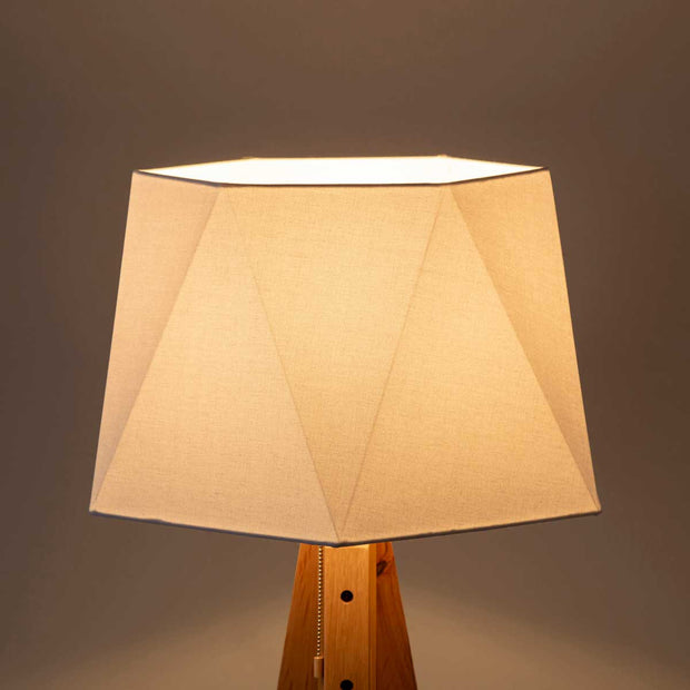 Hexagon Cotton Wood Floor Lamp