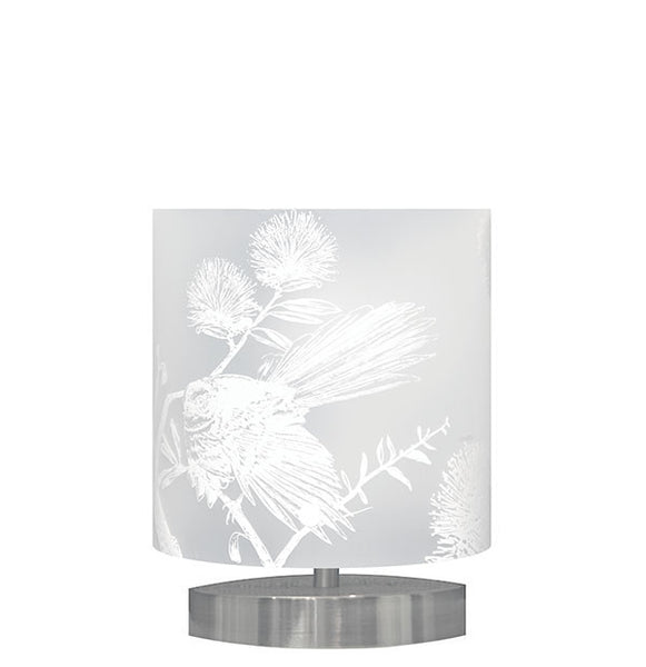 Small Piwakawaka, Fantail Table Lamp White Silhouette - Zamm Lights