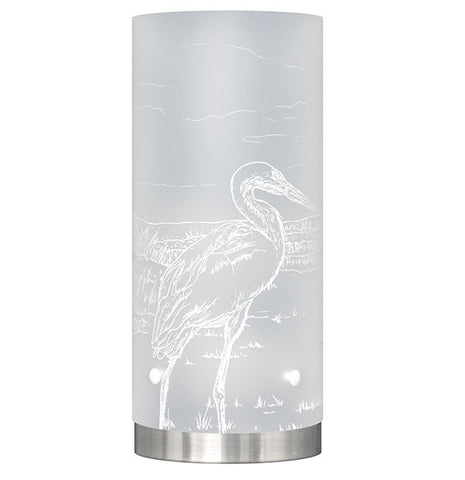 Medium Kōtuku, White Heron Table Lamp, White Silhouette - Zamm Lights