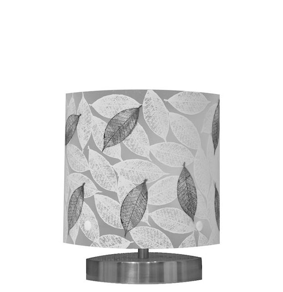Small Mahoe Leaf Table Lamp, Black and White Silhouette - Zamm Lights