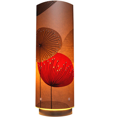 Dandelion Clocks Designer Wallpaper Lamp, Red Colour Way