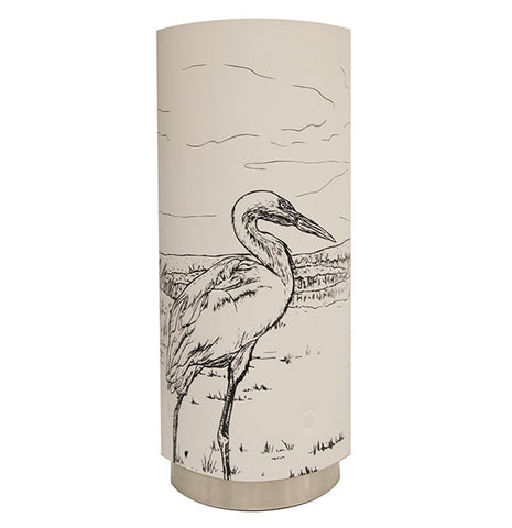 Medium Kōtuku, White Heron Table Lamp Black Silhouette