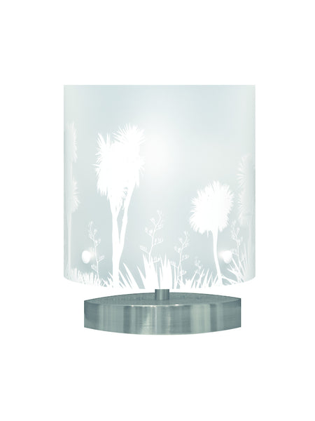 Small Tī kōuka, Cabbage Tree Table Lamp, White Silhouette