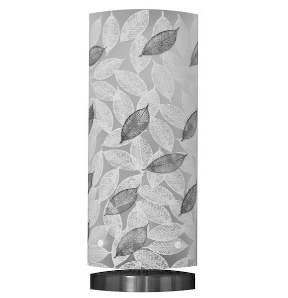 Medium Mahoe Leaf Table Lamp, Black and White Silhouette