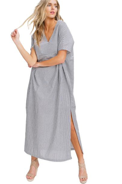 Striped Side Slit Caftan Dress