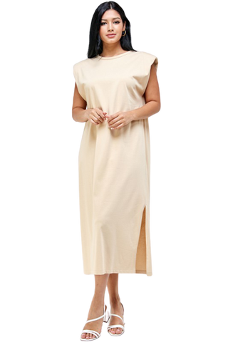 Shoulder Pad Both Side Slit Jersey Midi Dress