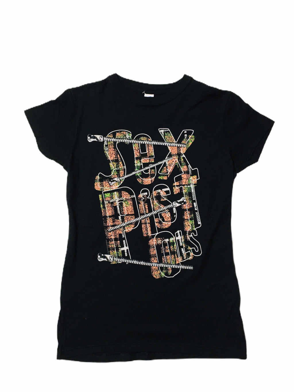 Sex Pistols Plaid & Zipper Logo Print Junior's Tee