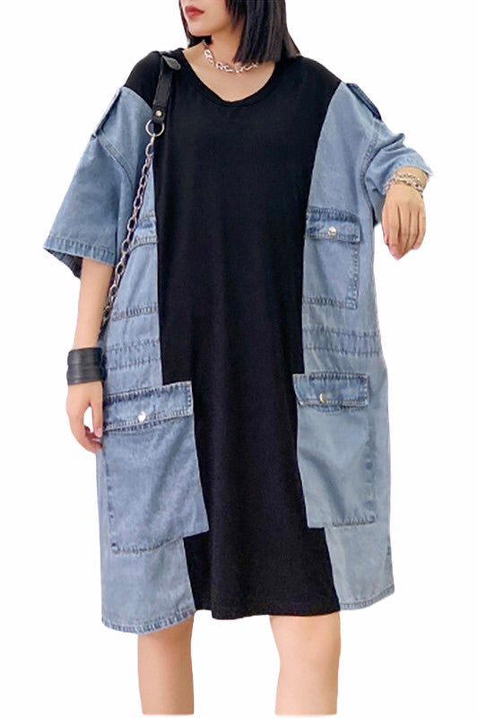 Oversized Denim & Jersey Knit Combo Dress