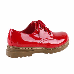 Low Lug Sole Vegan Patent Leather Lace Up Shoes