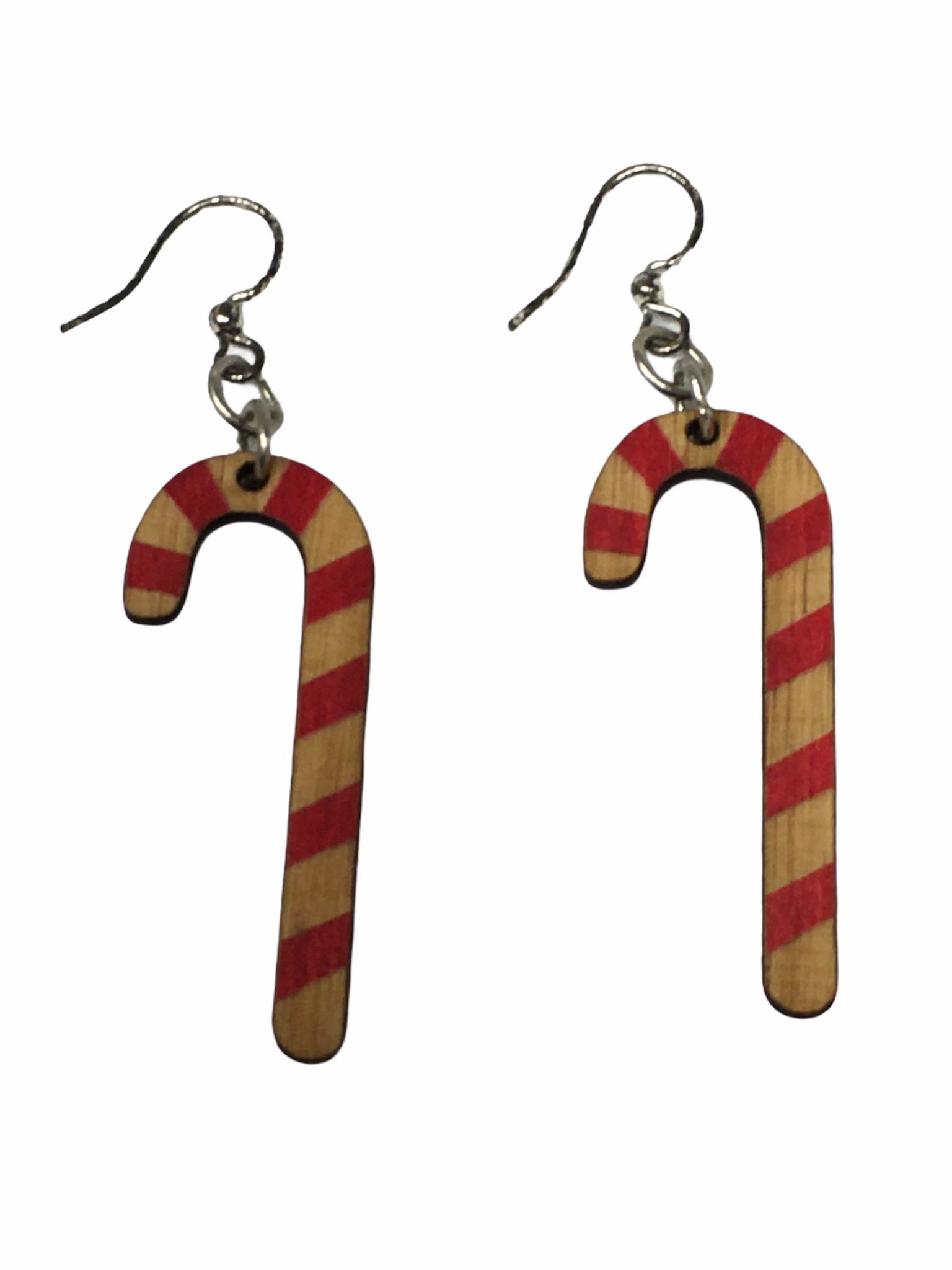 Christmas Candy Cane Recycled Wooden Earrings