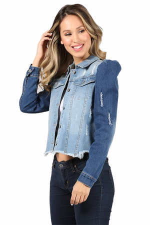 Butterfly Effected Two Tone Denim Jacket