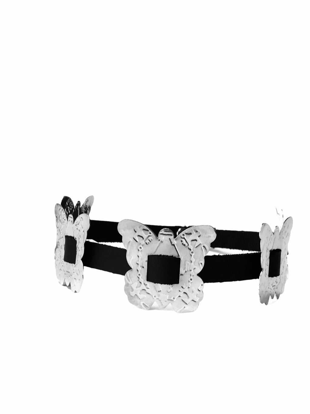 Butterfly Concho Leather Choker