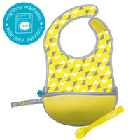 travel bib + flexible spoon - pine splice - b.box for kids