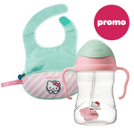 Hello Kitty - Sippy Cup + Travel Bib Candy Floss Bundle