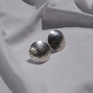 Earrings Silver domes Textured