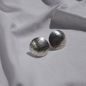 Silver Circle Textured Earrings
