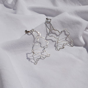 Earrings silver abstract