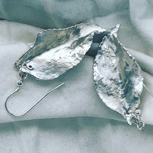 Earrings - delicate silver leaves