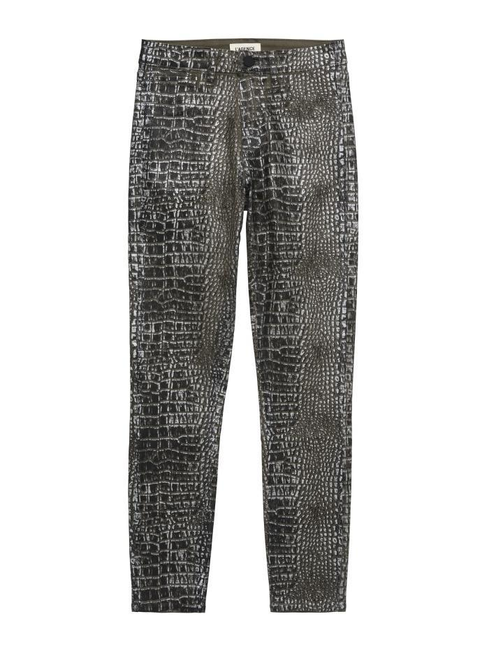 L'Agence Margot High Rise Foil Skinny Jean Chestnut/Black Croc